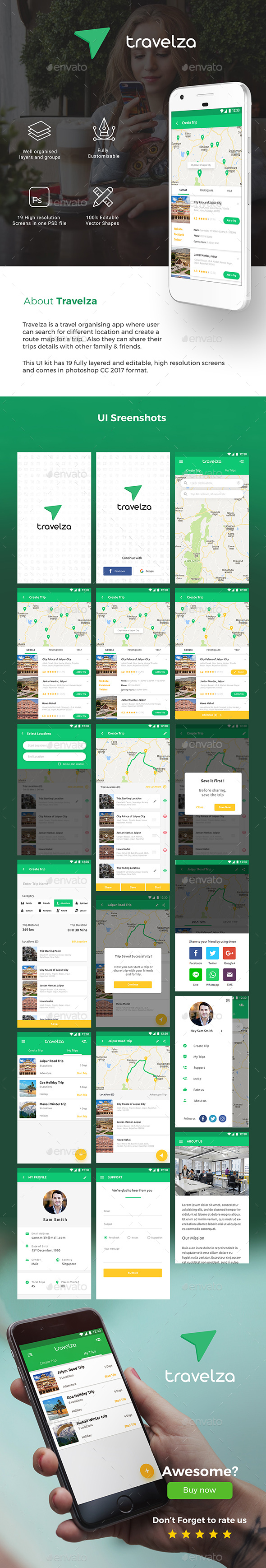 Travel Organiser App UI Kit For Android & iOs | Travelza - User Interfaces Web Elements