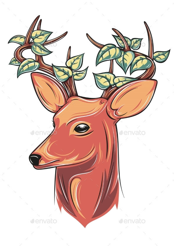 Deer Head with Leaves - Animals Characters
