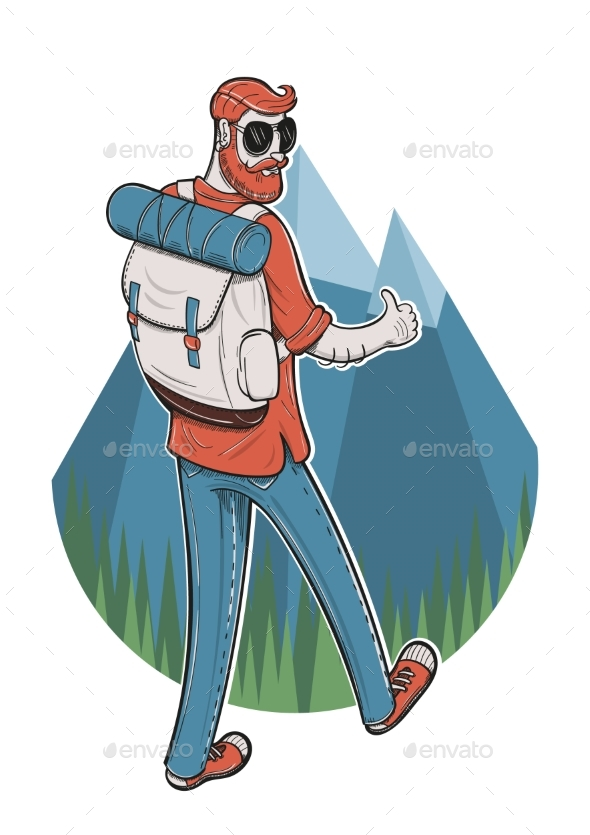 Young Man Trekking - Travel Conceptual