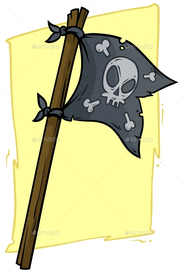 Cartoon Black Pirate Flag with Skull - Objects Vectors