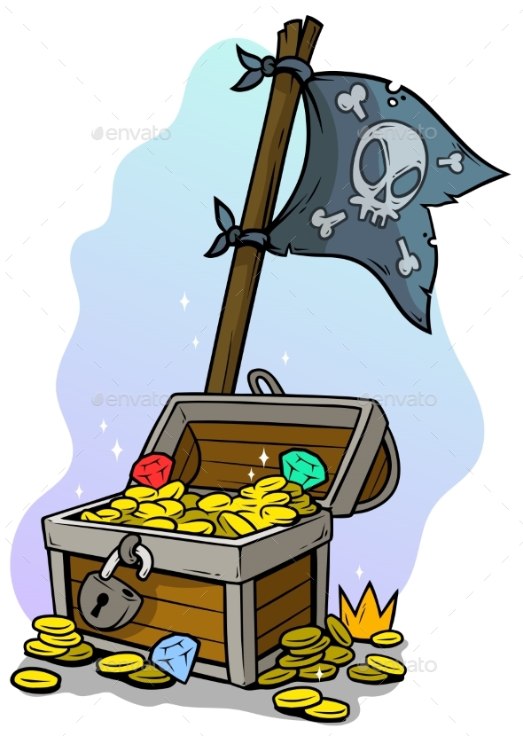 Cartoon Treasure Chest and Pirate Flag - Objects Vectors
