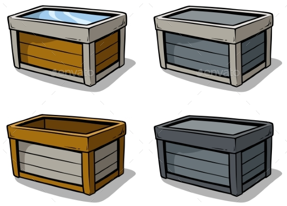 Cartoon Wooden Box Vector Icon Set - Objects Vectors