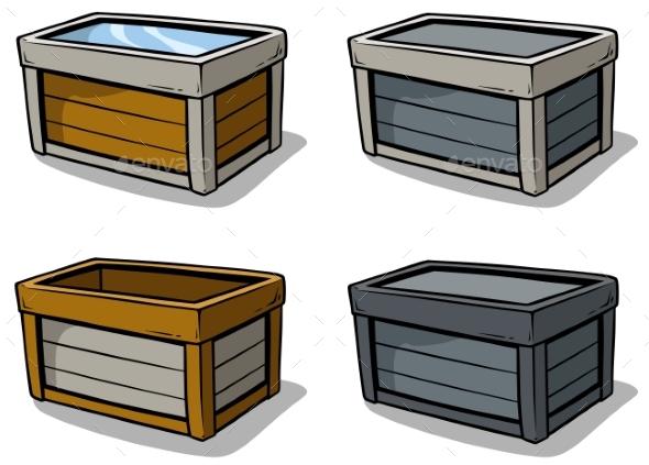 Cartoon Wooden Box Vector Icon Set - Objects Vectors