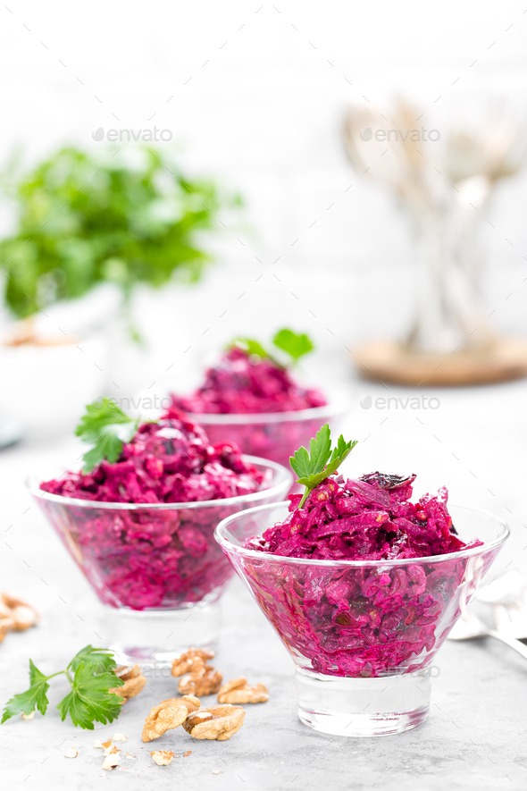 Beet salad. Salad of boiled beet. Beetroot salad - Stock Photo - Images