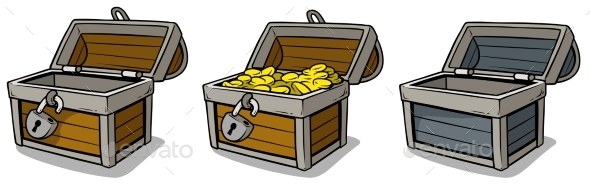 Cartoon Open Treasure Chest with Gold Coins Set - Objects Vectors