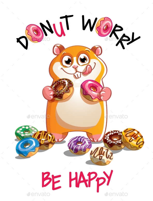 Vector Illustration of Cartoon Hamster with Donuts - Animals Characters