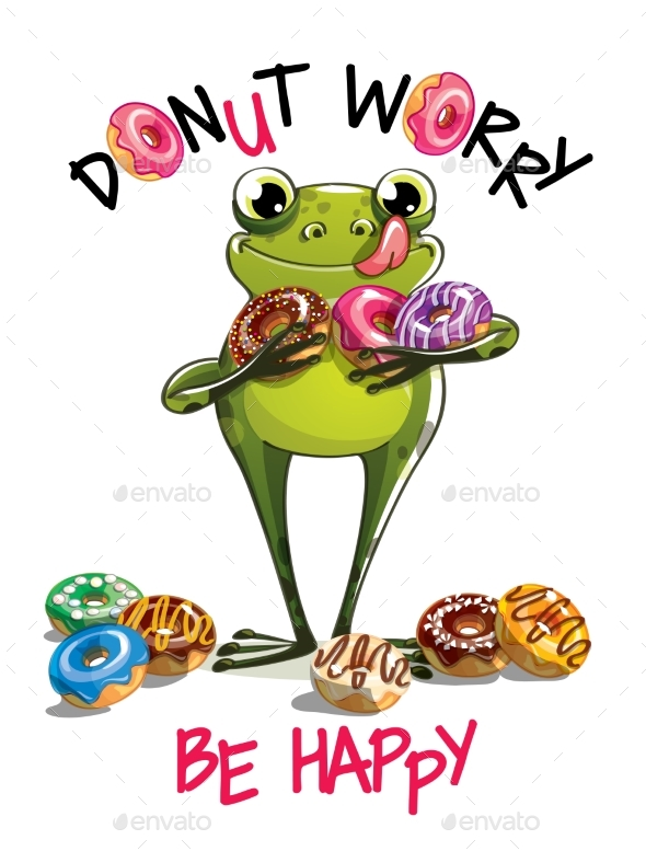 Vector Illustration of Cartoon Frog with Donuts. - Animals Characters