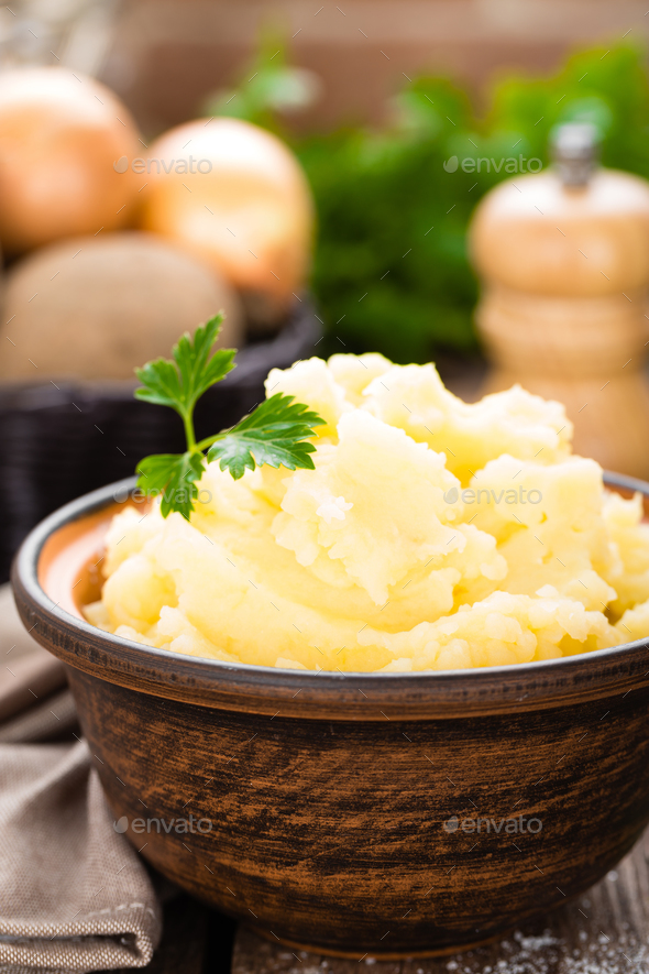 Mashed potato. Potato mash with butter and milk. Boiled potato. Potato puree - Stock Photo - Images