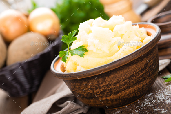 Mashed potato. Potato mash with butter and milk. Boiled potato. Potato puree - Stock Photo - Images
