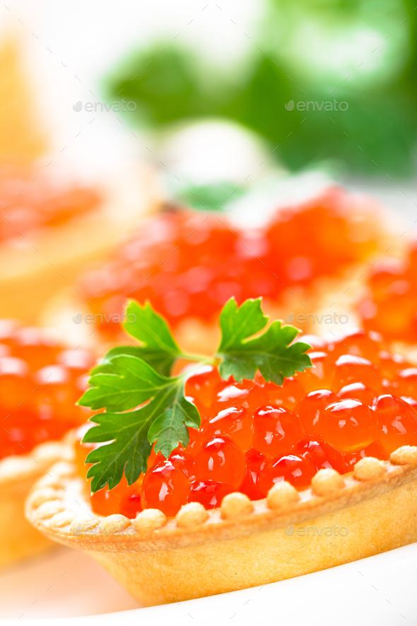 Tartlets with red salmon fish caviar, salmon caviar. Caviar - Stock Photo - Images