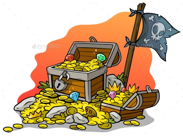 Cartoon Treasure Chests and Pirate Flag - Objects Vectors