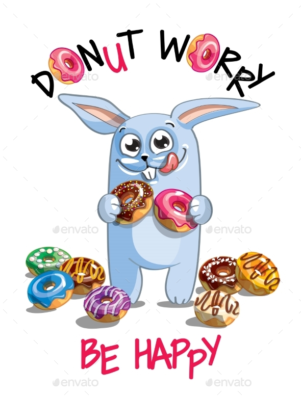 Vector Illustration of Cartoon Rabbit with Donuts. - Animals Characters