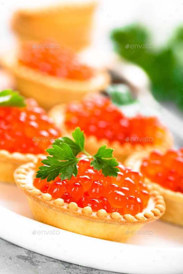 Tartlets with red salmon fish caviar, salmon caviar. Caviar - Stock Photo - Images