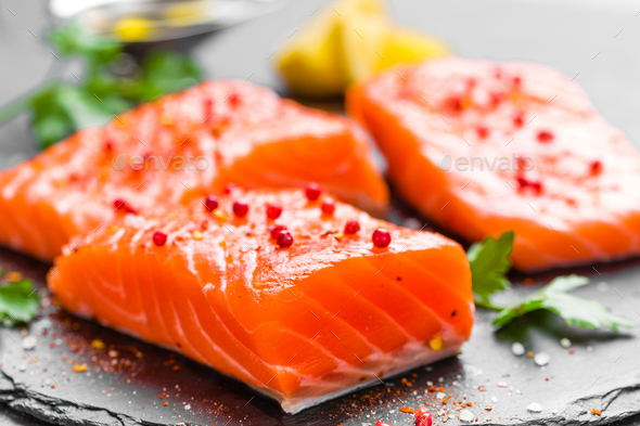 Salmon. Fresh salmon fish. Raw salmon fish fillet - Stock Photo - Images