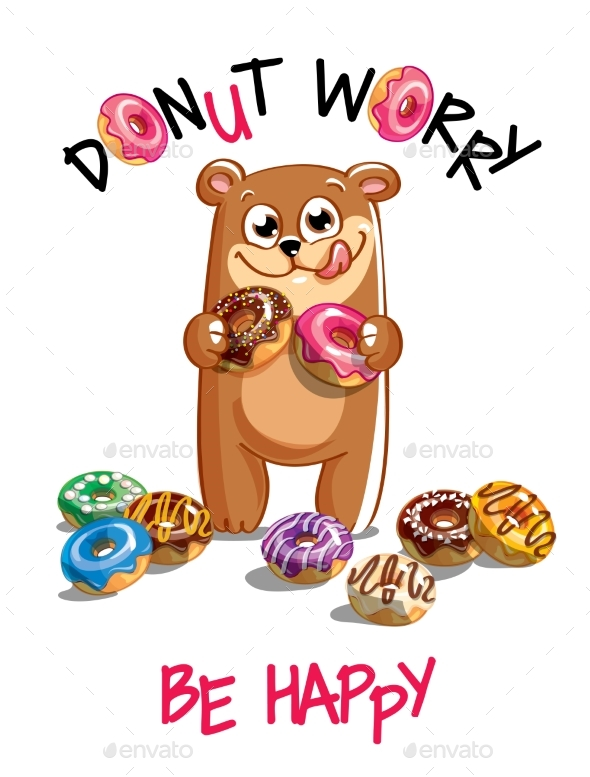 Vector Illustration of Cartoon Bear with Donuts. - Animals Characters