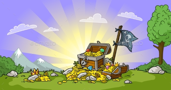 Cartoon Treasure Chest on Landscape Background - Backgrounds Decorative
