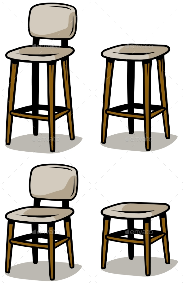 Cartoon Wooden Chairs Vector Icon Set - Objects Vectors
