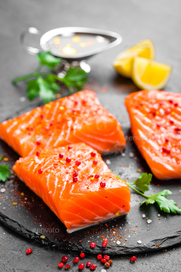 Salmon. Fresh salmon fish. Raw salmon fish fillet - Stock Photo - Images