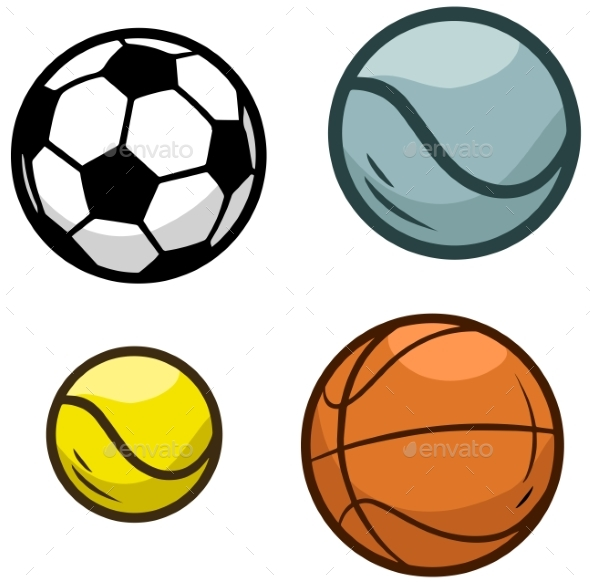 Cartoon Sports Ball Vector Icon Set - Objects Vectors