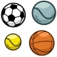 Cartoon Sports Ball Vector Icon Set - GraphicRiver Item for Sale