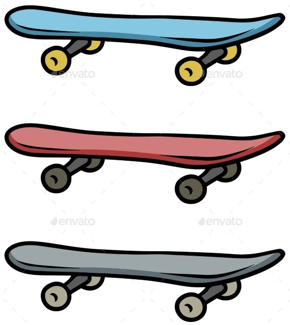 Cartoon Colored Skateboard Vector Icon Set - Objects Vectors