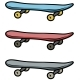 Cartoon Colored Skateboard Vector Icon Set