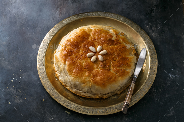 Chicken bastilla, Moroccan layered pie, top view copyspace - Stock Photo - Images