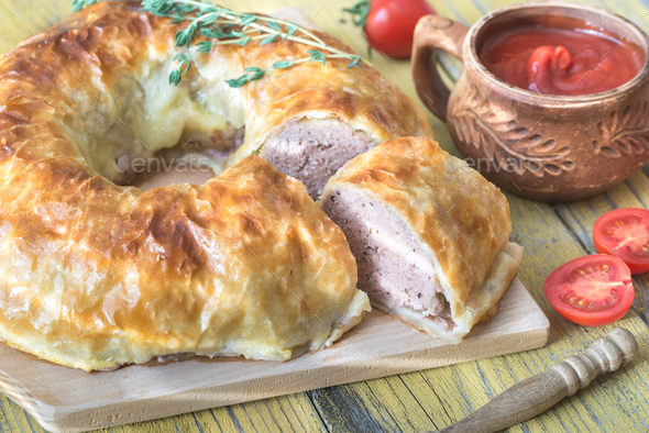 Meatball Wellington ring  - Stock Photo - Images