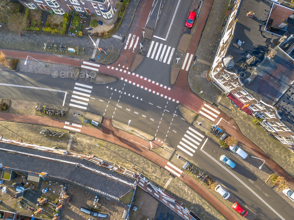 aerial view of intersection - Stock Photo - Images