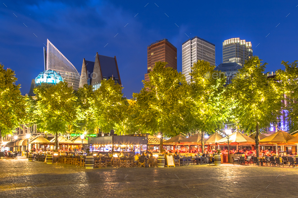 Famous Plein square The Hague at night - Stock Photo - Images