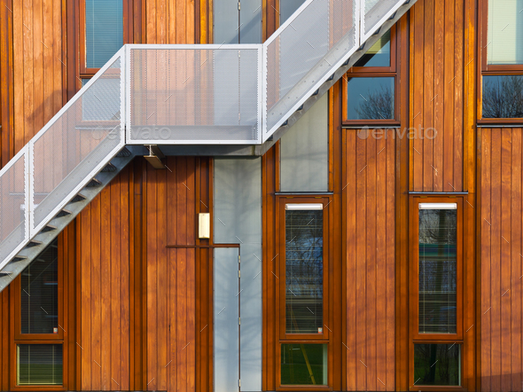 modern wooden facade - Stock Photo - Images