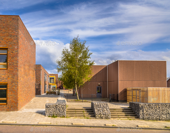 Modern schoolyard - Stock Photo - Images