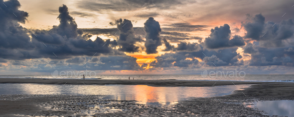 Sunset View over North Sea - Stock Photo - Images