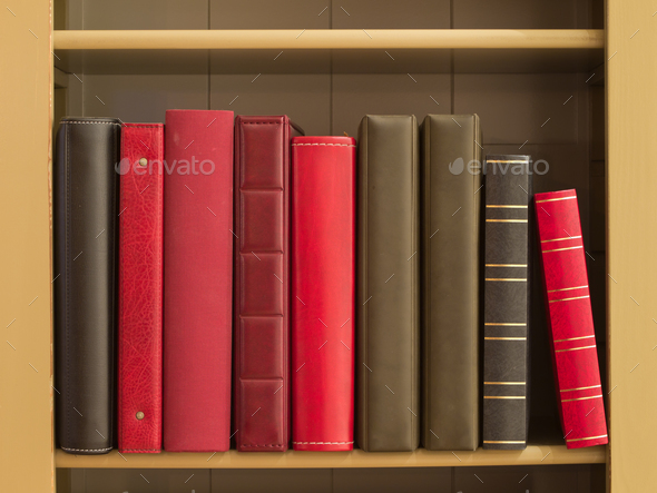 Books in a bookshelf - Stock Photo - Images