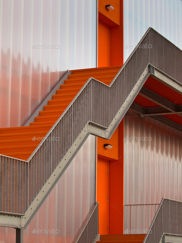 Orange escape stairs - Stock Photo - Images