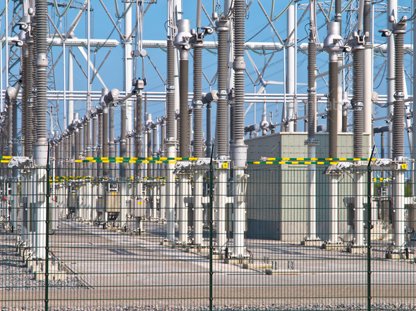 transformation power station diagonal - Stock Photo - Images