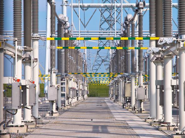 transformation power station landscape closeup - Stock Photo - Images
