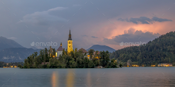 Lake bled with church under storm - Stock Photo - Images