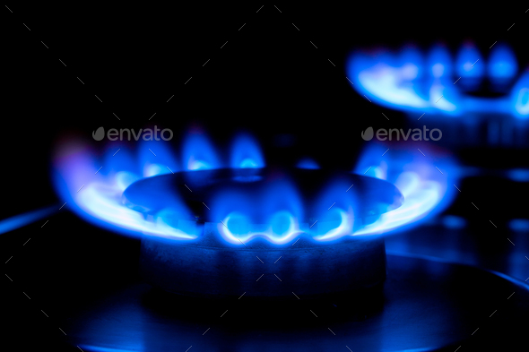 two blue flames - Stock Photo - Images