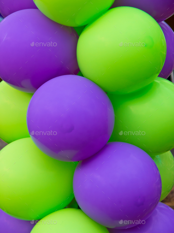 Green and Purple balloons - Stock Photo - Images