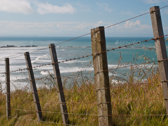 seascape over fence - Stock Photo - Images