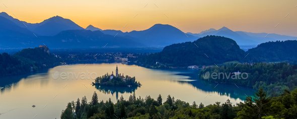 Aerial early morning view of lake Bled - Stock Photo - Images