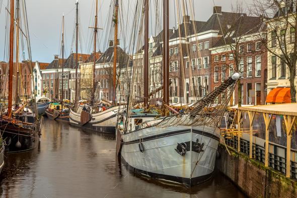 Historic sailing ships at Hoge der Aa - Stock Photo - Images