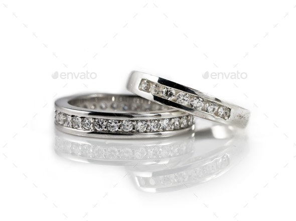 engagement rings on white - Stock Photo - Images
