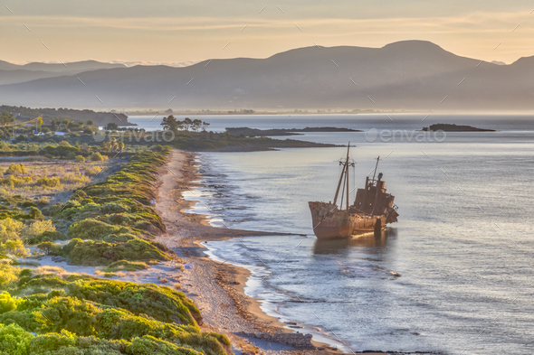 Rusty Shipwreck on Peloponnese coas - Stock Photo - Images