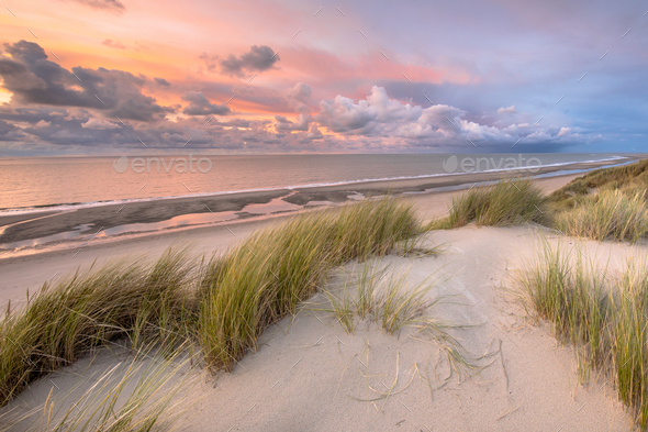 View over North Sea from dune - Stock Photo - Images