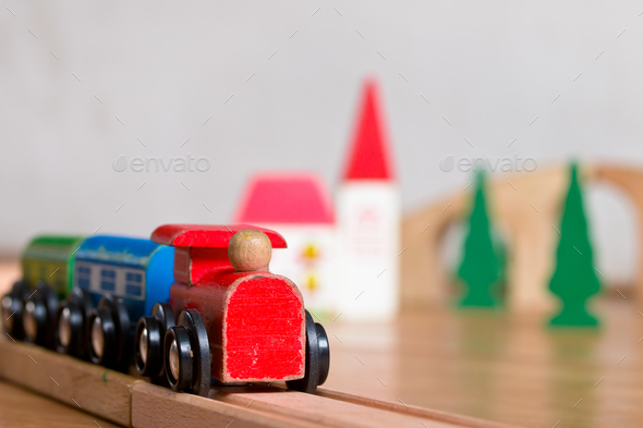 Wooden toy train scene - Stock Photo - Images