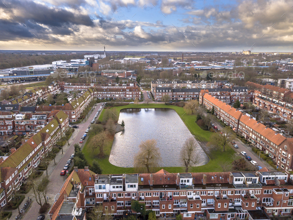 Aerial view dutch city - Stock Photo - Images