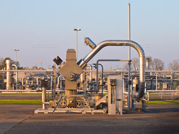 Natural gas well processing plant backdrop - Stock Photo - Images