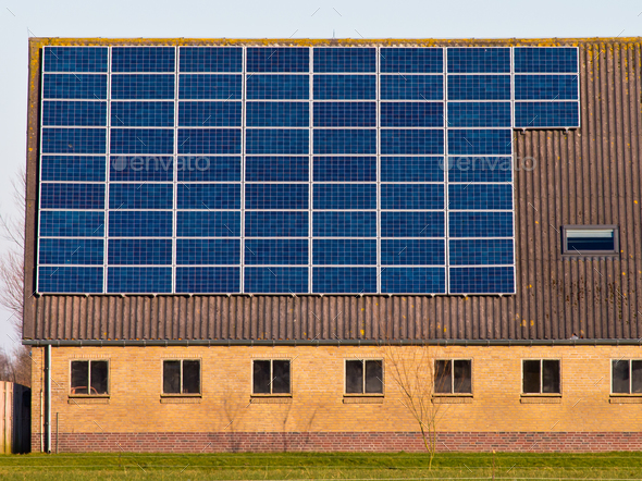 Solar panels on a roof - Stock Photo - Images